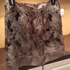 NWT GAP rose flower mini skirt pockets satin 0